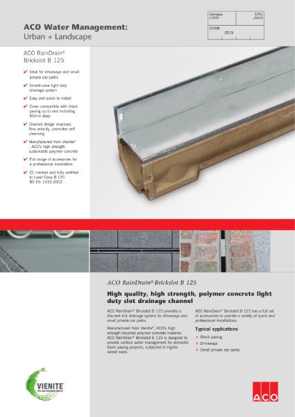 ACO RainDrain Brickslot B 125 brochure