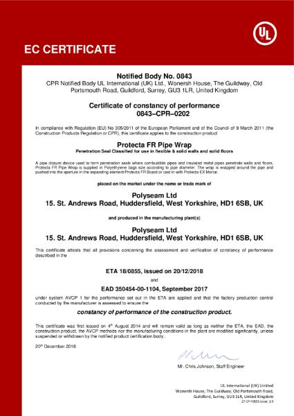 Protecta FR Pipe Wrap - EC Certificate