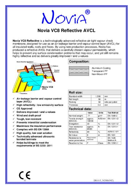 Novia VC8 Reflective Air and Vapour Control Layer