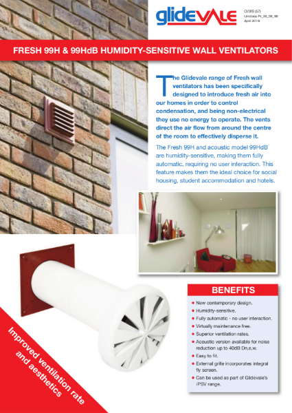 Glidevale Protect Fresh 99 & 99HdB Wall Ventilators