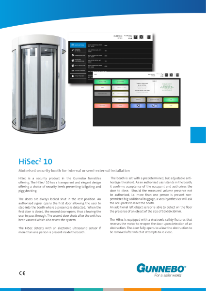 Motorised security booth (1000mm clear opening) for internal or semi-external installation - HiSec 10