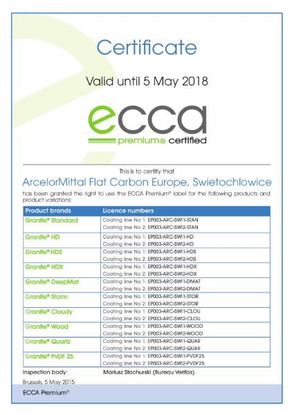 ECCA Premium - Certificate ArcelorMittal FCE Swietochlowice
