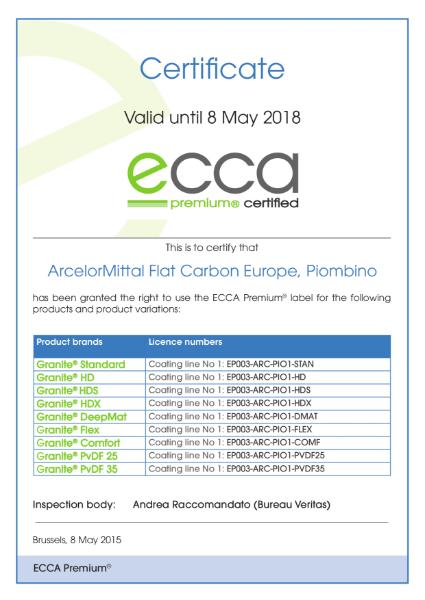 ECCA Premium - Certificate ArcelorMittal FCE Piombino