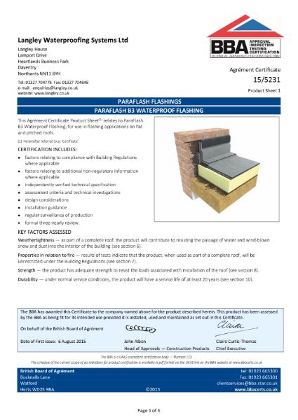 15/5231 Paraflash B3 waterproof flashing