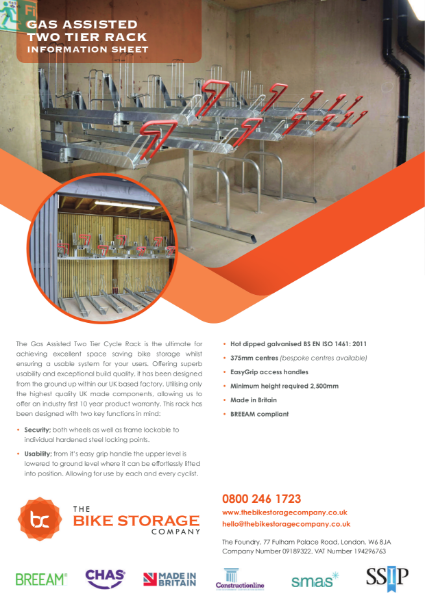 Gas Assisted Two Tier Cycle Rack - Specification Sheet