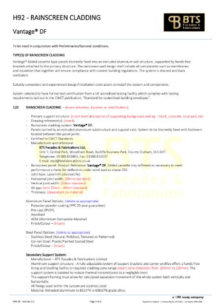 Vantage DF Specification
