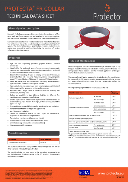 FR Collar - Intumescent Fire Rated Collar