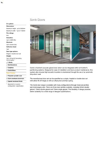 Sonik Doors Datasheet