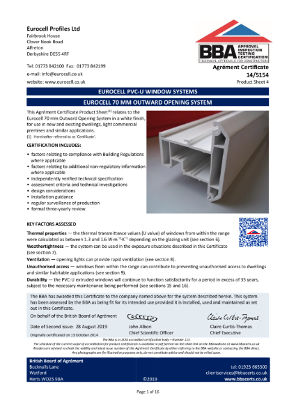 EUROCELL 70 MM OUTWARD OPENING SYSTEM