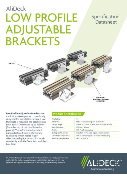 AliDeck Adjustable Pedestal Brackets Datasheet