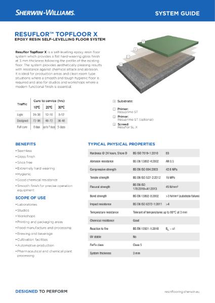 Resin flooring Resuflor Topfloor X system