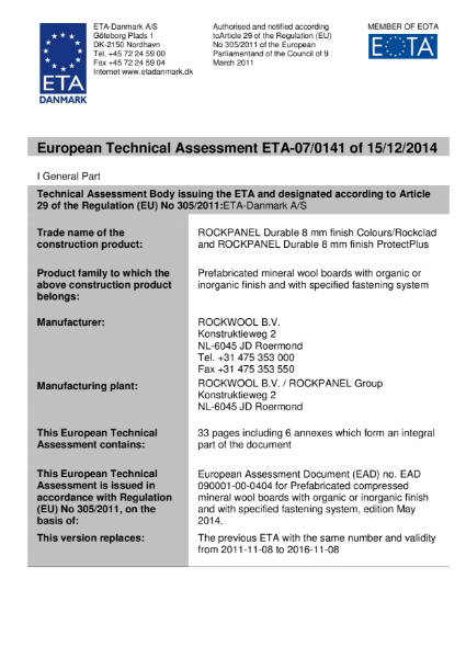 European Technical Assessment (ETA): ETA-07/0141
