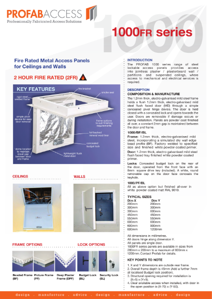Profab 2 Hour Fire Rated Metal Access Panels