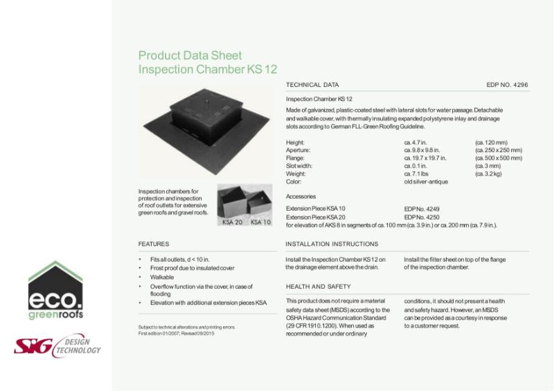 Eco Green Roofs Inspection Chamber KS12 Datasheet