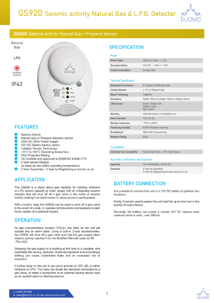 GS920 Seismic activity Natural Gas and L.P.G Detector Datasheet