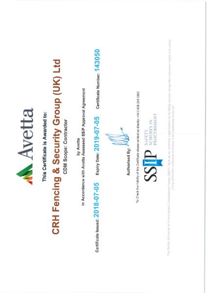 Avetta SSIP certificate