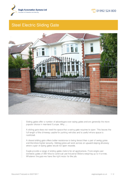 Residential Steel Electric Sliding Gate
