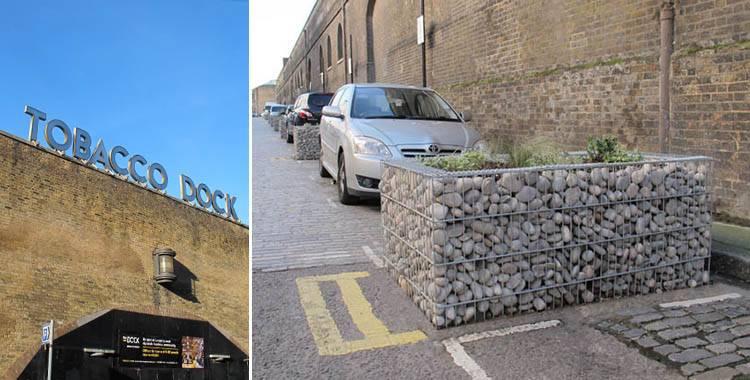 Gabion planters for popular London warehouse