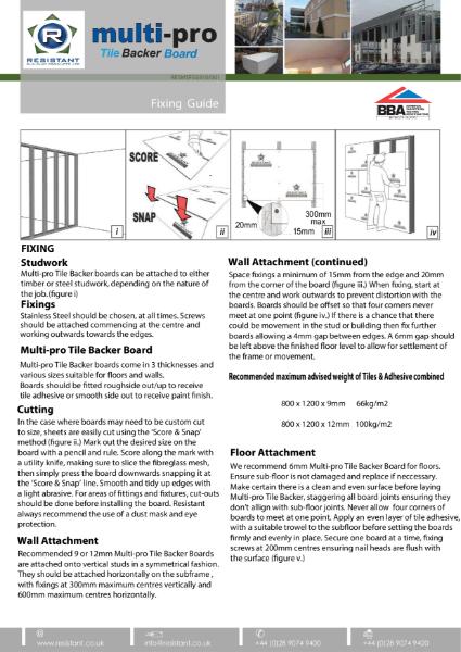 Multi-pro Tile Backer Board Fixing Guide