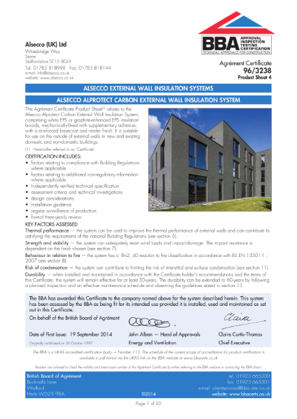 AG963238_4 ALSECCO ALPROTECT CARBON EXTERNAL WALL INSULATION SYSTEM
