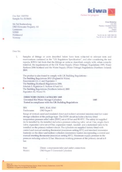 Kiwa Certificate 1503700