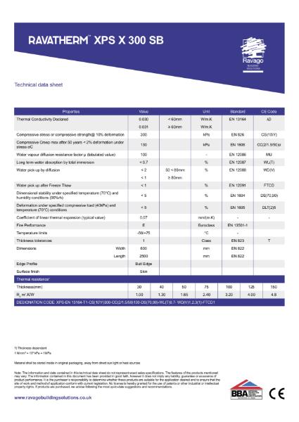 Ravatherm XPS X 300 SB Technical Data Sheet
