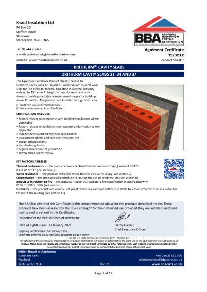 DriTherm® Cavity Wall Slabs - BBA Certificate - 95/3212