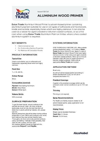 Dulux Trade Aluminium Wood Primer