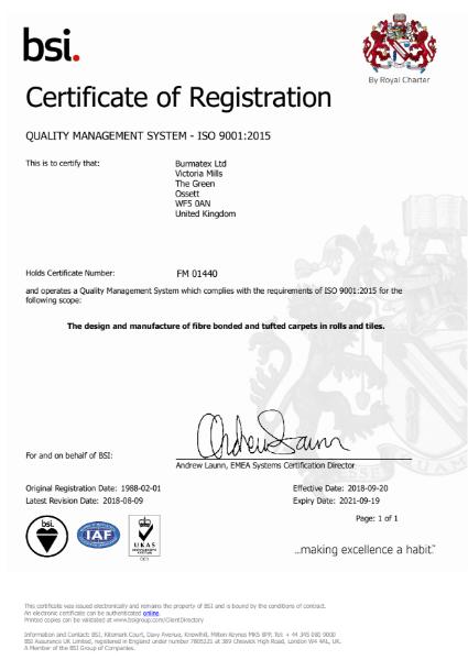 BSI - ISO 9001:2015 Certificate of Registration