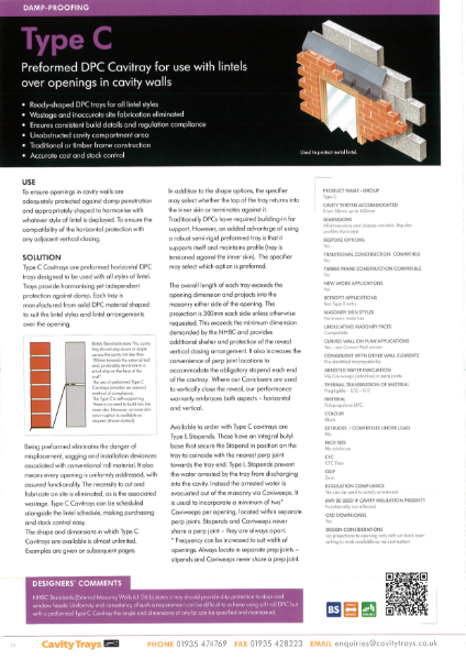 Cavity Trays Ltd Type C cavity tray for common openings and lintels