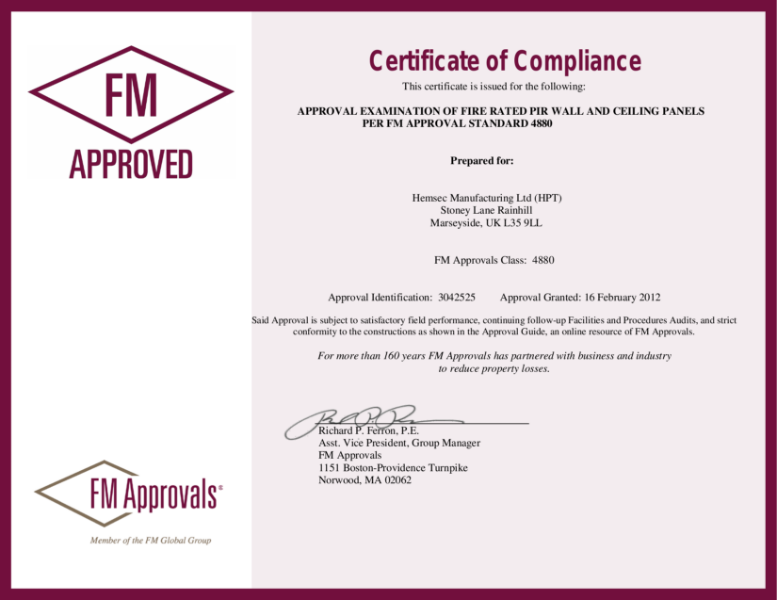 Hemsec Metal Faced FM 4880 Certificate