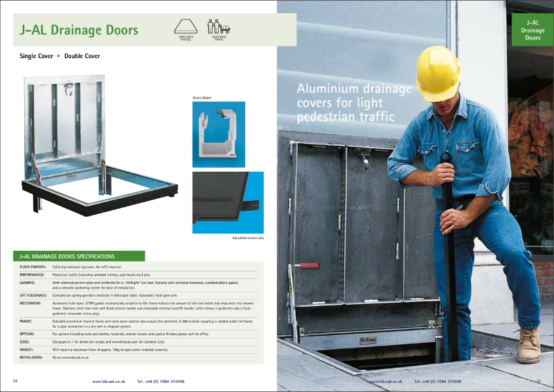 TYPE J-AL/JD-AL 300PSF Floor Access Door with Drainage
