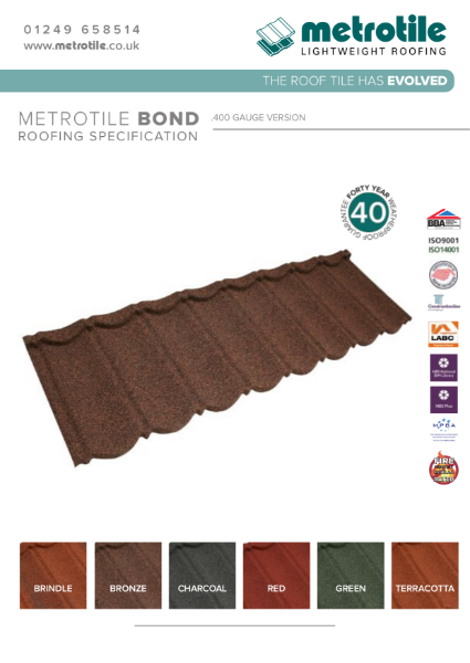 Metrotile Bond .400 Lightweight Roofing System Example Specification