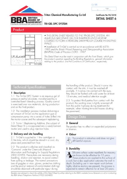 BBA Certificate 95/3210_6 Tri-Gel DPC System
