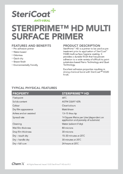 SteriPrime HD Undercoat Technical Data