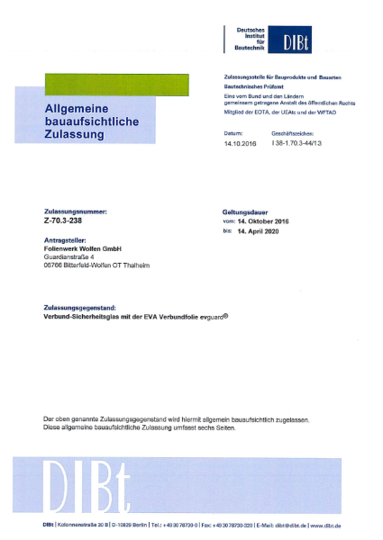 National technical approval (abZ) DIBt for evguard® laminating interlayer