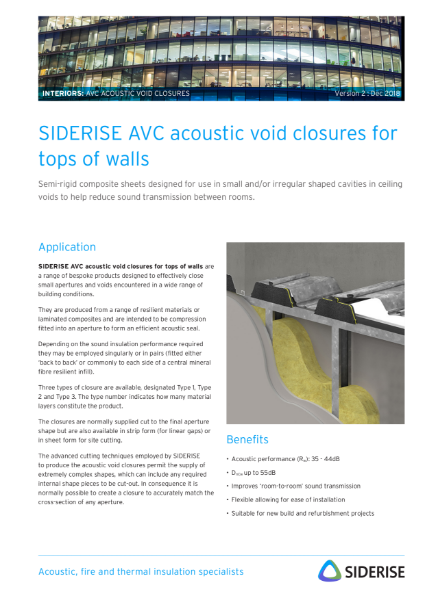 Acoustic insulation closures - tops of walls v2