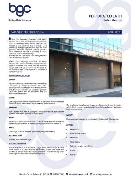 Perforated Lath Roller Shutters