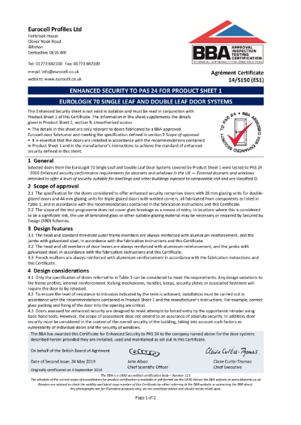 ENHANCED SECURITY TO PAS 24 FOR PRODUCT SHEET 1
