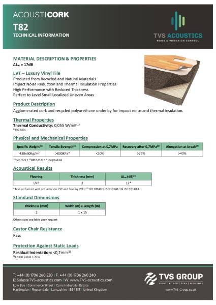 TVS Acoustics Acousticork T82 Acoustic Underlay For Below Vinyl