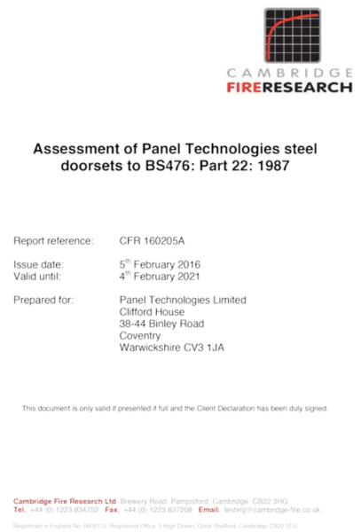 Assessment of Panel Technologies steel doorsets Certificate CFR 160205A