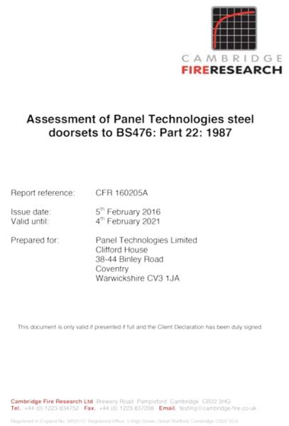 Assessment of Panel Technologies steel doorsets Certificate CFR 160205A