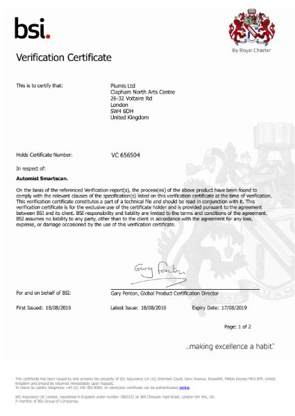 BS 8458:2015 Certificate