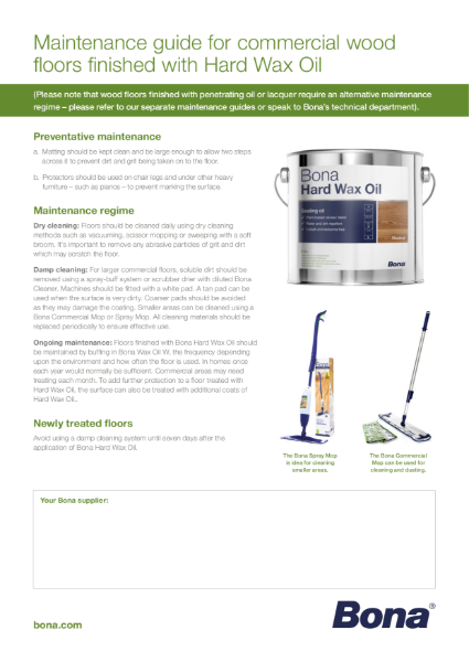 Maintenance Guide for Floors finished with Hard Wax Oil