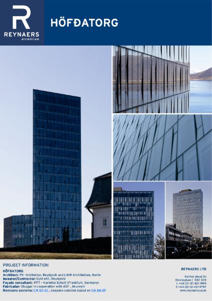 Case Study: HÖFÐATORG, featuring CW 68-EF element facade, aluminium curtain wall