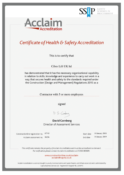 Certificate of Health & Safety Accreditation