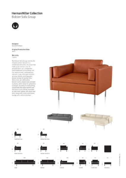 Bolster Sofa Group - Product Sheet