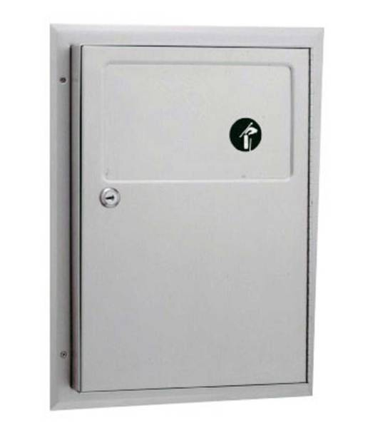 Partition mounted sanitary napkin disposal unit B-354