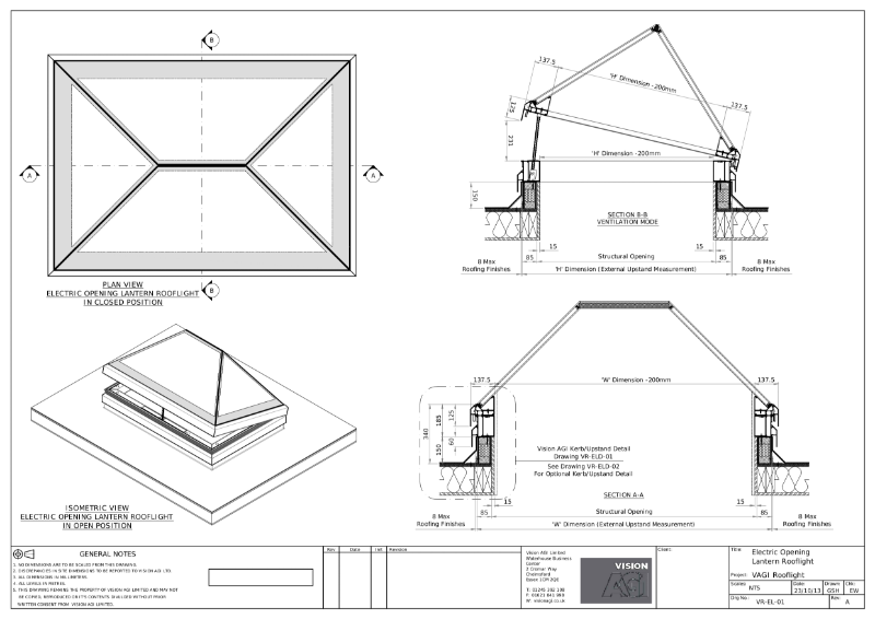 Electric Opening Roof Lantern