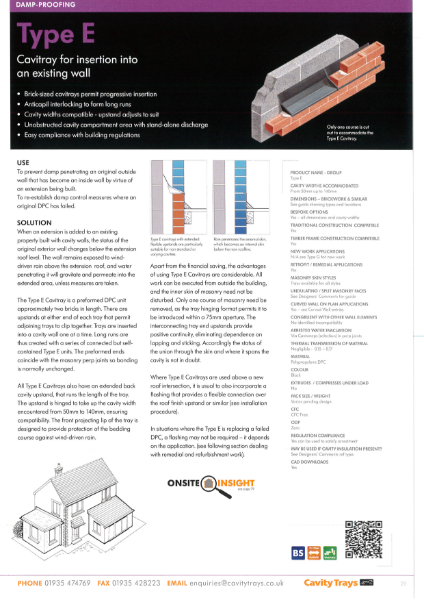 Cavity Trays Ltd Type E remedial cavity tray insertion into existing cavity wall